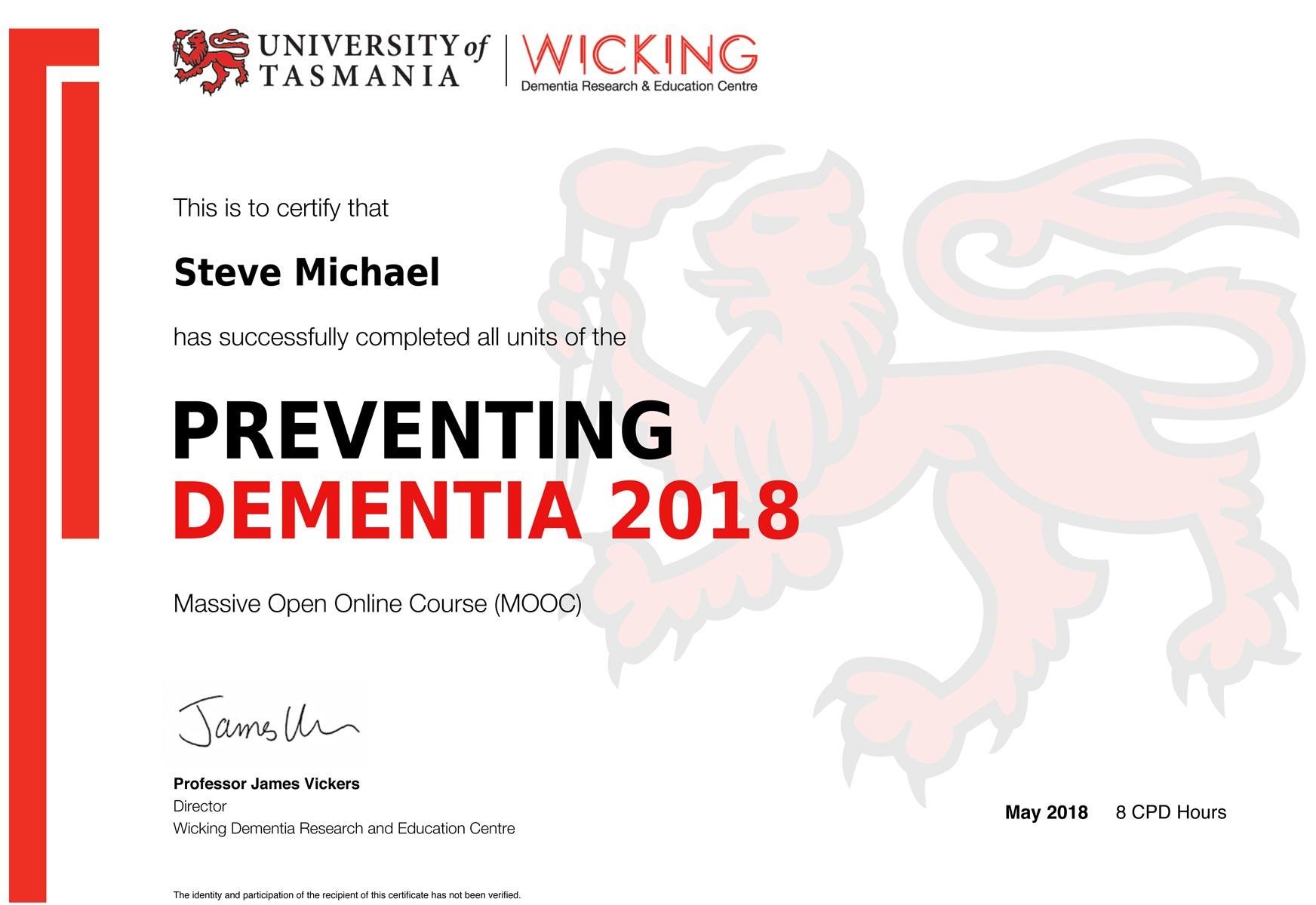Steve Michael Has Studied Dementia Awareness Courses To Inform His